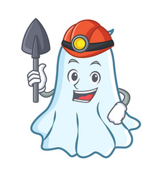 Miner cute ghost character cartoon vector