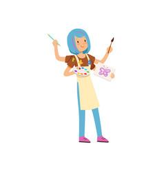 Multitasking artist character girl with blue vector