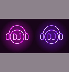 Neon dj sign in purple and violet color vector