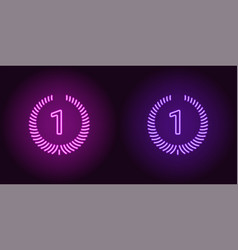 Neon icon of purple and violet first place vector