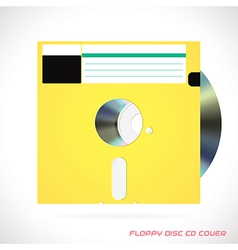 Old Fashion Floppy Disc With Compact Disc vector image