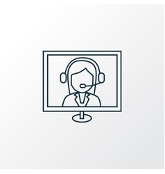 Online consultation icon line symbol premium vector
