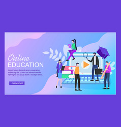 online education notebook woman man student vector image