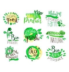 Organic Farm Food Promo Signs Colorful Set vector image