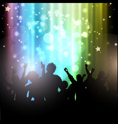 Party people on bokeh lights background vector
