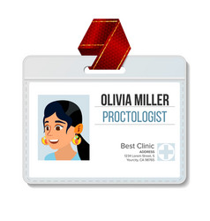 Proctologist identification badge woman vector