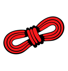 Red rope and carabiners icon in icon cartoon vector