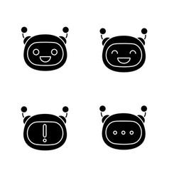 Robot emojis glyph icons set vector