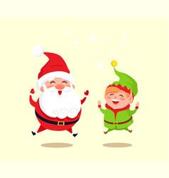santa claus and green elf icon vector image