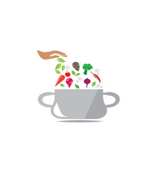 saucepan with food ingredients cooking for logo vector image