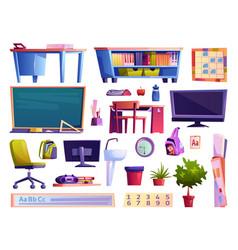School classroom elements furniture and gadgets vector