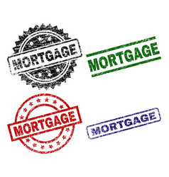 scratched textured mortgage seal stamps vector image