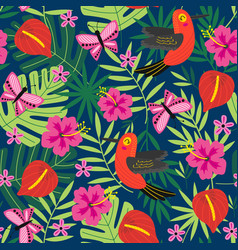Seamless pattern with tropical nature vector