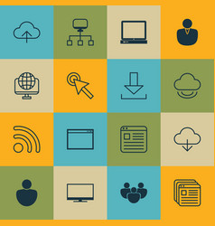 Set of 16 world wide web icons includes program vector