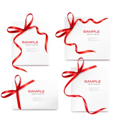 set of cards with red bows vector image