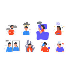 Set with male and female characters having mental vector