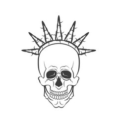 skull with barbed wire symbol freedom vector image