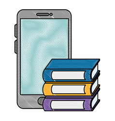 Smartphone with pile text books vector