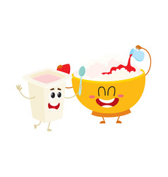 Smiling bowl of cottage cheese and yougurt cup vector