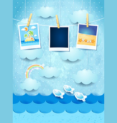 Summer background with photo frames vector