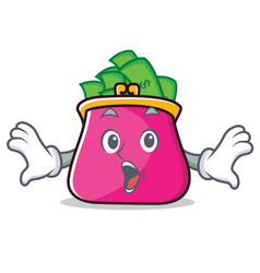 Surprised purse character cartoon style vector