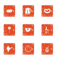 Tea leaf icons set grunge style vector