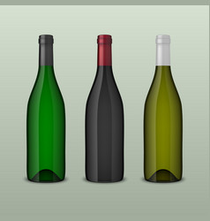 two realistic wine bottles in top view vector image
