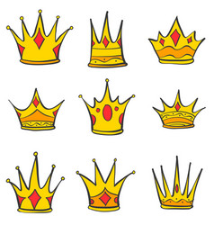 Various gold crown style doodles vector