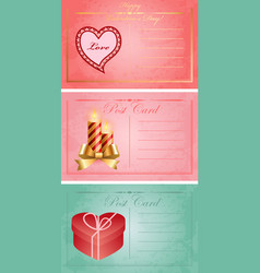 Vintage valentine day postcards vector image