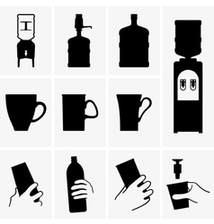 Water coolers and cups vector image