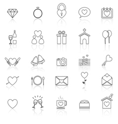 Wedding line icons with reflect on white vector image