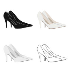 White shoes with heels for the bride clothes of vector