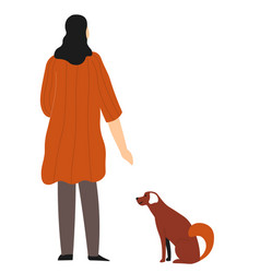 woman walking dog back view female character vector image