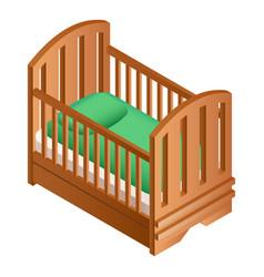 Wood crib icon isometric style vector