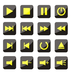 Yellow media player buttons vector