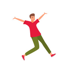 young beautiful man in fashionable clothes jumping vector image