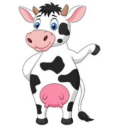 Cute cow cartoon waving hand vector image vector image