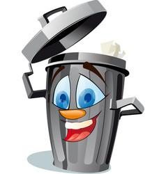 funny wastebasket vector image vector image