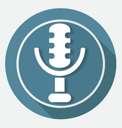 microphone icon on white circle with a long shadow vector image vector image