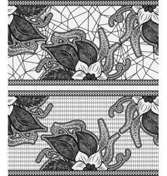 Set of two seamless lace ribbon Black floral vector image