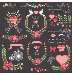 Wedding card floral Decor toolkit Wreathheart vector image