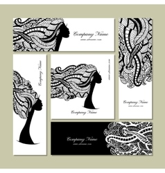 Business cards design female floral portrait vector image vector image