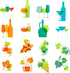 Colorful wine icons vector image