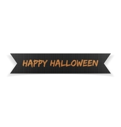 Happy Halloween black greeting Ribbon vector image