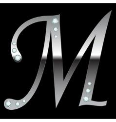 silver metallic letter M vector image