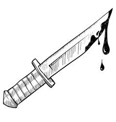 doodle knife murder vector image