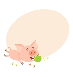 Funny little pig lying and eating apple three vector image