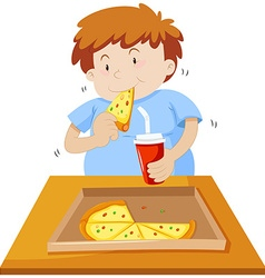 Man eating pizza and drinking soda vector image