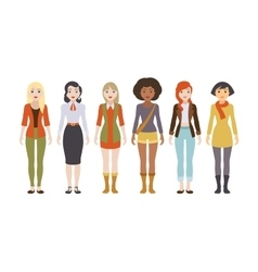 Six female characters vector image