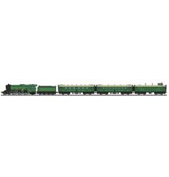 The vintage green passenger steam train vector